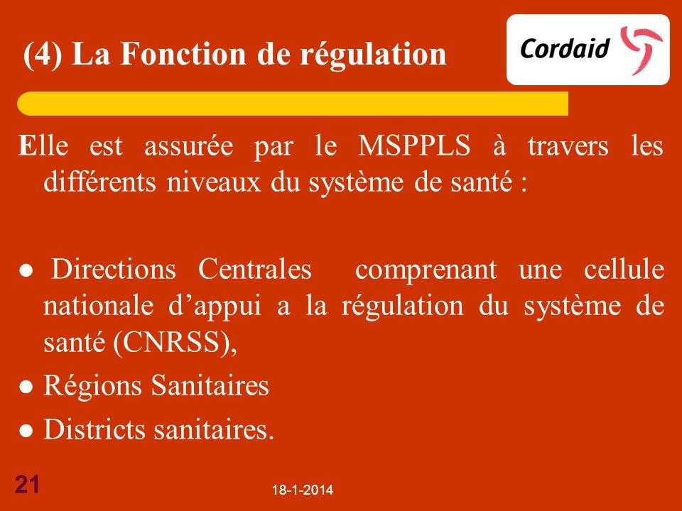 18-1-2014 21 Elle est assurée par le MSPPLS à travers les différents niveaux du système de santé : Directions Centrales comprenant une cellule nationa
