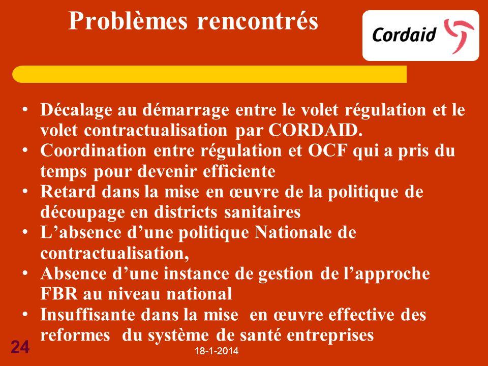 18-1-2014 24 Problèmes rencontrés Décalage au démarrage entre le volet régulation et le volet contractualisation par CORDAID. Coordination entre régul