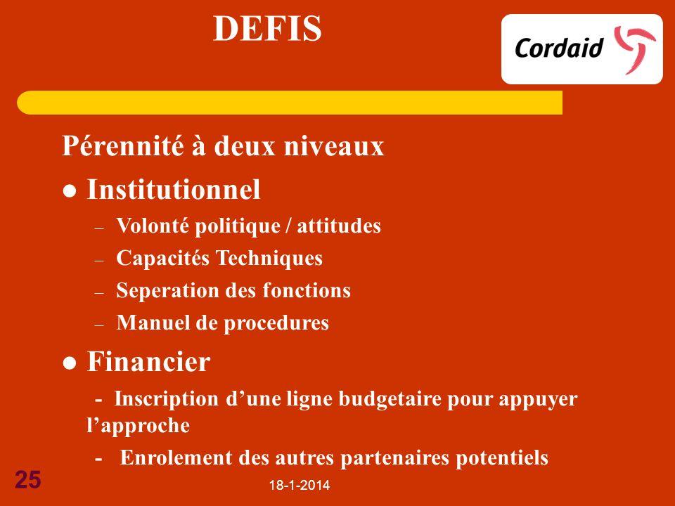 18-1-2014 25 DEFIS Pérennité à deux niveaux Institutionnel – Volonté politique / attitudes – Capacités Techniques – Seperation des fonctions – Manuel