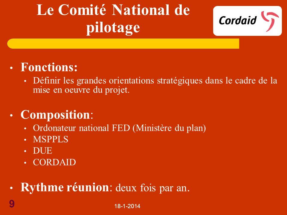 18-1-2014 9 Fonctions: Définir les grandes orientations stratégiques dans le cadre de la mise en oeuvre du projet. Composition: Ordonateur national FE