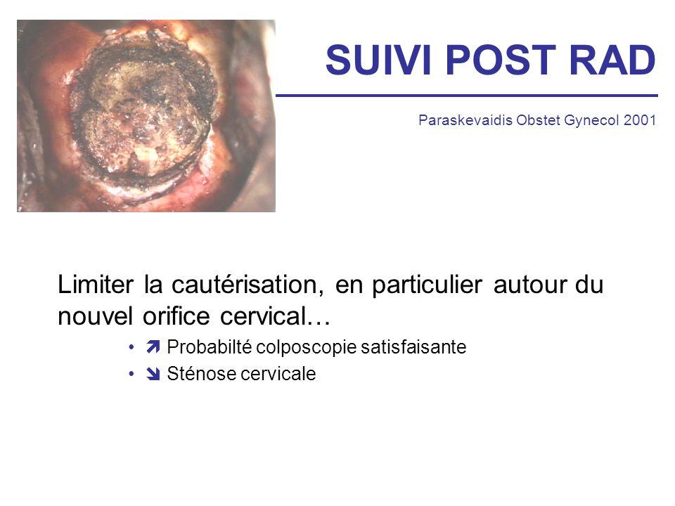 SUIVI POST RAD Limiter la cautérisation, en particulier autour du nouvel orifice cervical… Probabilté colposcopie satisfaisante Sténose cervicale Para