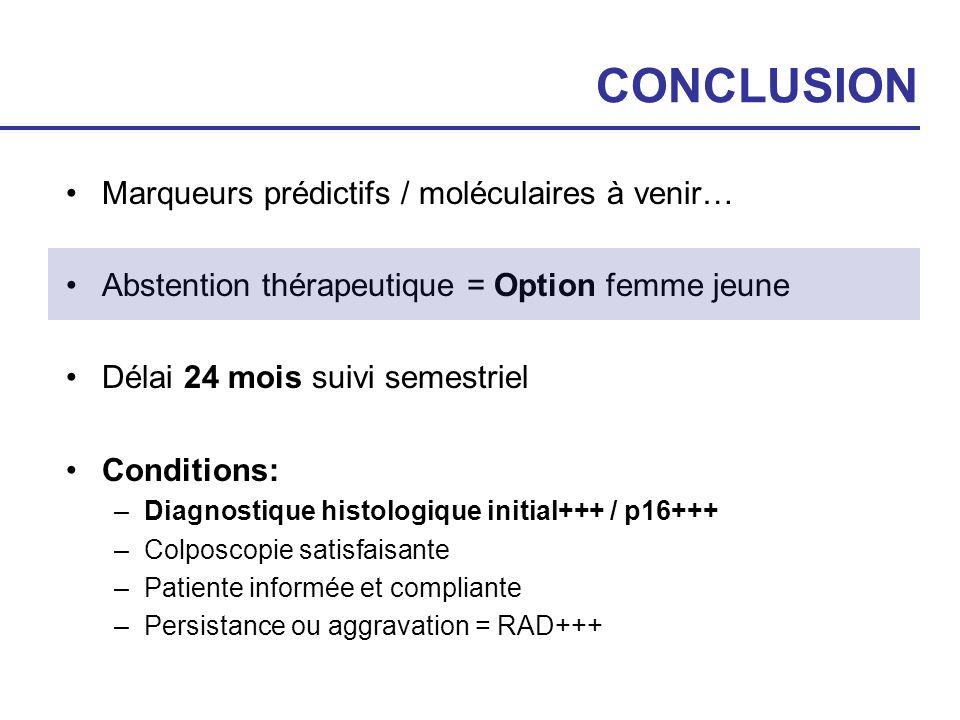 CONCLUSION Marqueurs prédictifs / moléculaires à venir… Abstention thérapeutique = Option femme jeune Délai 24 mois suivi semestriel Conditions: –Diag