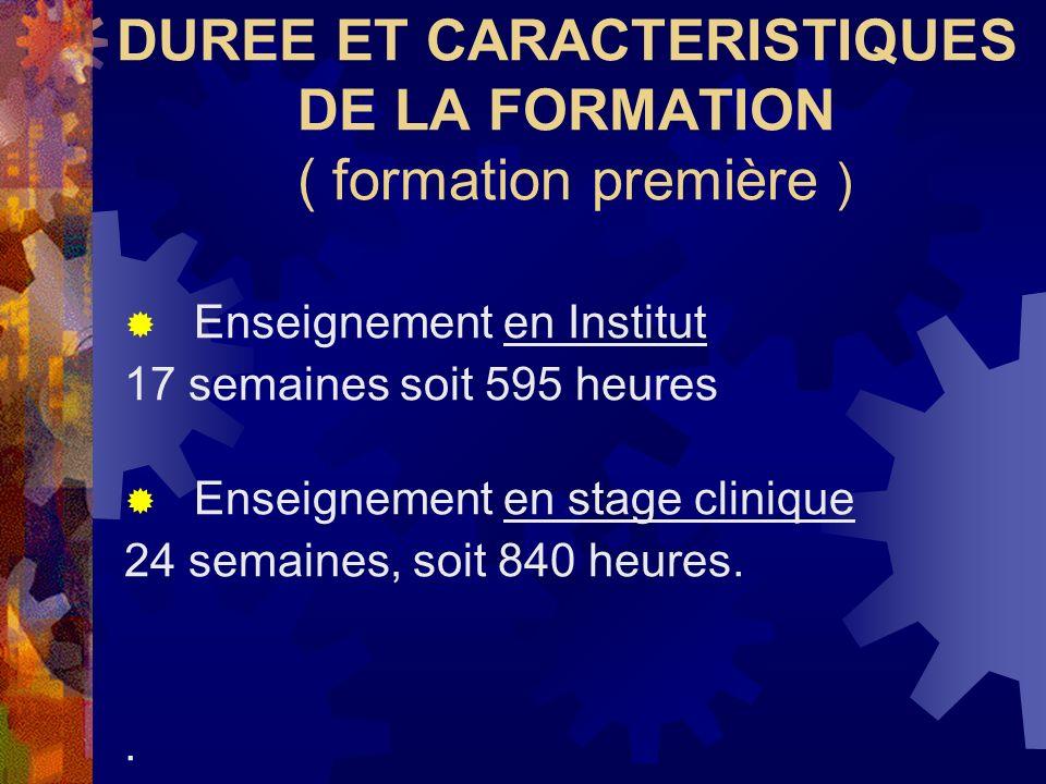 DUREE ET CARACTERISTIQUES DE LA FORMATION ( formation première ) Enseignement en Institut 17 semaines soit 595 heures Enseignement en stage clinique 2