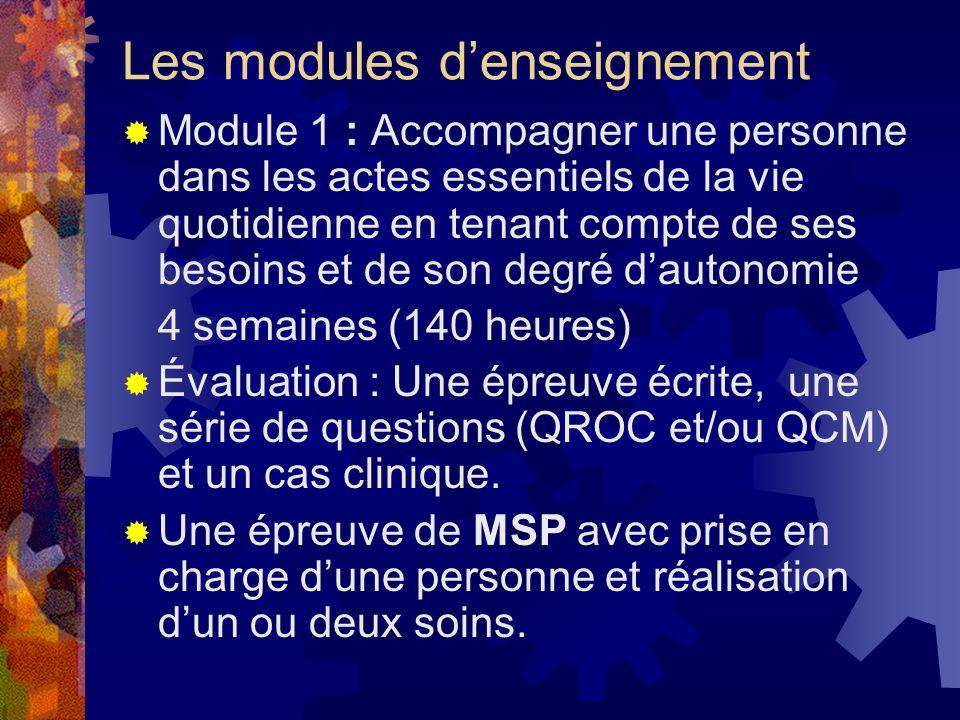 Les modules denseignement Module 1 : Accompagner une personne dans les actes essentiels de la vie quotidienne en tenant compte de ses besoins et de so