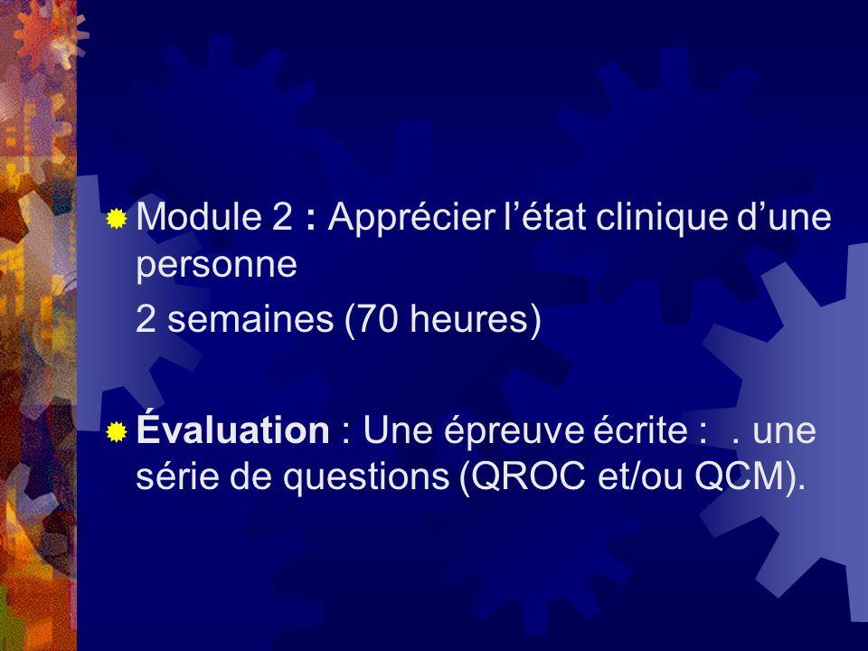 Module 2 : Apprécier létat clinique dune personne 2 semaines (70 heures) Évaluation : Une épreuve écrite :. une série de questions (QROC et/ou QCM).