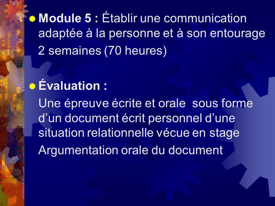 Module 5 : Établir une communication adaptée à la personne et à son entourage 2 semaines (70 heures) Évaluation : Une épreuve écrite et orale sous for