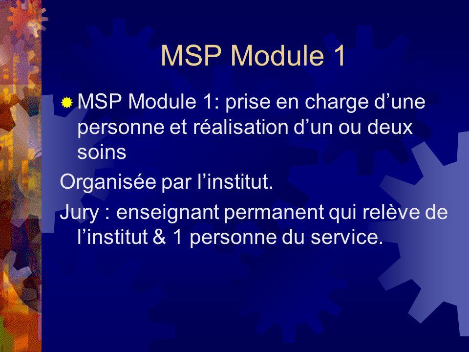 MSP Module 1 MSP Module 1: prise en charge dune personne et réalisation dun ou deux soins Organisée par linstitut. Jury : enseignant permanent qui rel