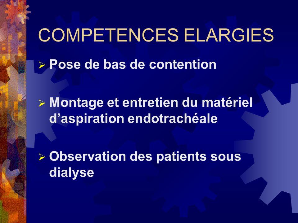 COMPETENCES ELARGIES Pose de bas de contention Montage et entretien du matériel daspiration endotrachéale Observation des patients sous dialyse