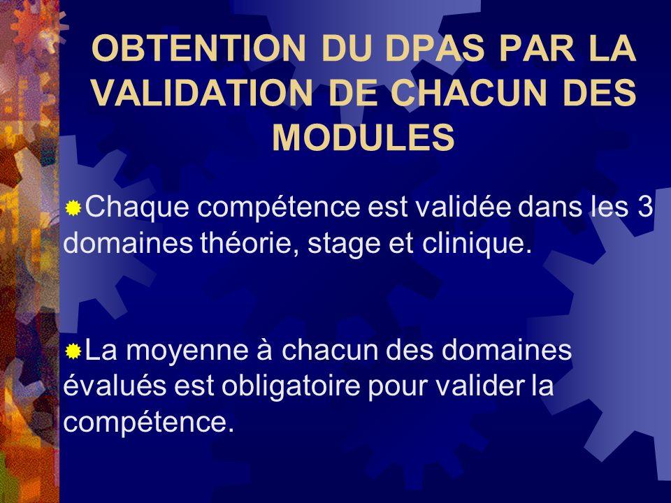 OBTENTION DU DPAS PAR LA VALIDATION DE CHACUN DES MODULES Chaque compétence est validée dans les 3 domaines théorie, stage et clinique. La moyenne à c