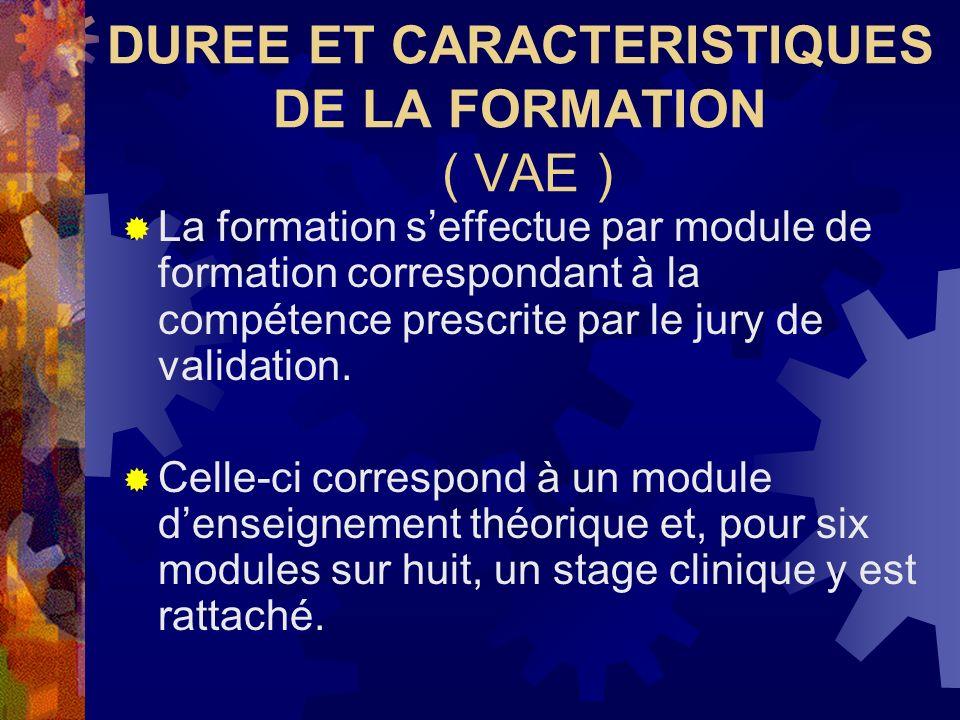 DUREE ET CARACTERISTIQUES DE LA FORMATION ( VAE ) La formation seffectue par module de formation correspondant à la compétence prescrite par le jury d