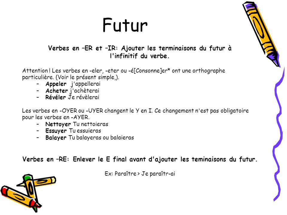 Futur Verbes en –ER et –IR: Ajouter les terminaisons du futur à l'infinitif du verbe. Attention ! Les verbes en -eler, -eter ou -é[Consonne]er* ont un