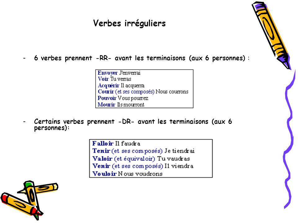 Verbes irréguliers -6 verbes prennent -RR- avant les terminaisons (aux 6 personnes) : -Certains verbes prennent -DR- avant les terminaisons (aux 6 per