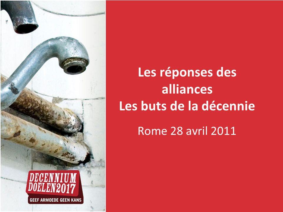 Les réponses des alliances Les buts de la décennie Rome 28 avril 2011