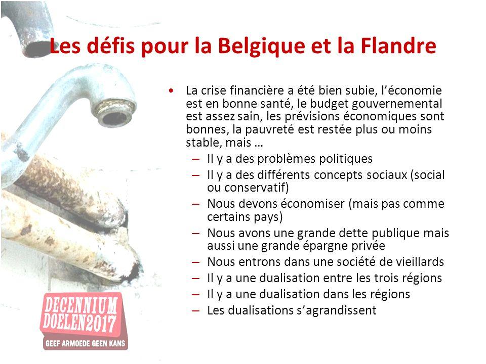 Les défis pour la Belgique et la Flandre La crise financière a été bien subie, léconomie est en bonne santé, le budget gouvernemental est assez sain, les prévisions économiques sont bonnes, la pauvreté est restée plus ou moins stable, mais … – Il y a des problèmes politiques – Il y a des différents concepts sociaux (social ou conservatif) – Nous devons économiser (mais pas comme certains pays) – Nous avons une grande dette publique mais aussi une grande épargne privée – Nous entrons dans une société de vieillards – Il y a une dualisation entre les trois régions – Il y a une dualisation dans les régions – Les dualisations sagrandissent