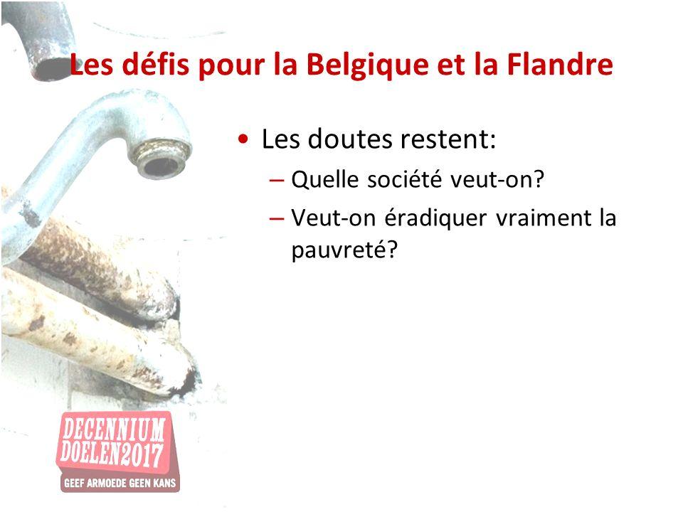 Les défis pour la Belgique et la Flandre Les doutes restent: – Quelle société veut-on? – Veut-on éradiquer vraiment la pauvreté?
