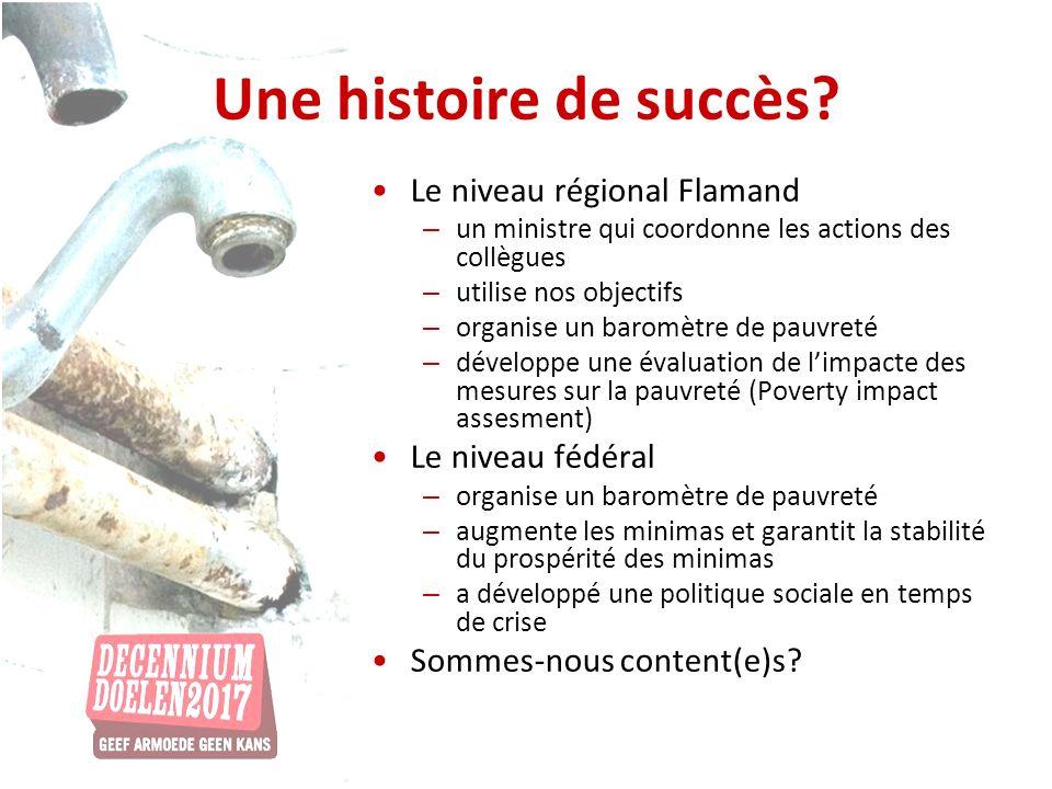 Une histoire de succès? Le niveau régional Flamand – un ministre qui coordonne les actions des collègues – utilise nos objectifs – organise un baromèt