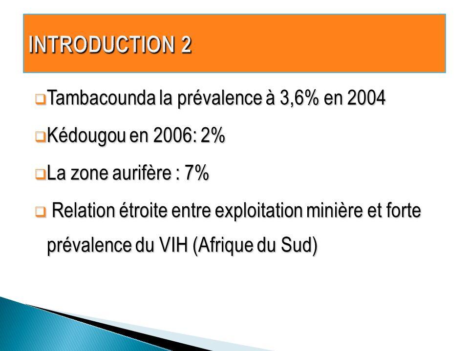 Tambacounda la prévalence à 3,6% en 2004 Tambacounda la prévalence à 3,6% en 2004 Kédougou en 2006: 2% Kédougou en 2006: 2% La zone aurifère : 7% La zone aurifère : 7% Relation étroite entre exploitation minière et forte prévalence du VIH (Afrique du Sud) Relation étroite entre exploitation minière et forte prévalence du VIH (Afrique du Sud)