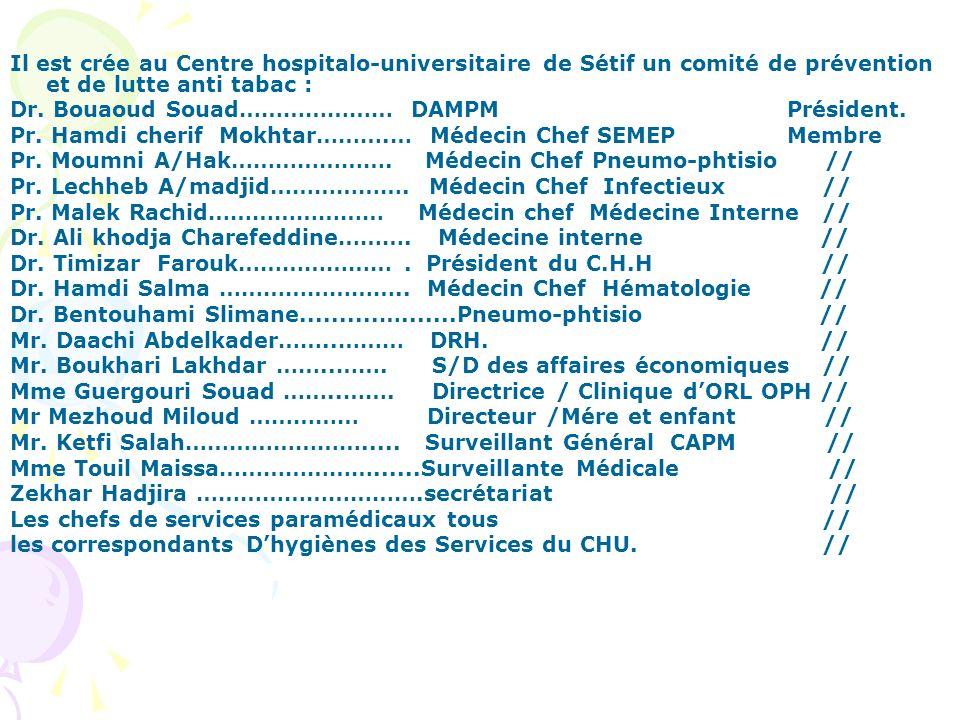 Il est crée au Centre hospitalo-universitaire de Sétif un comité de prévention et de lutte anti tabac : Dr. Bouaoud Souad………………… DAMPM Président. Pr.