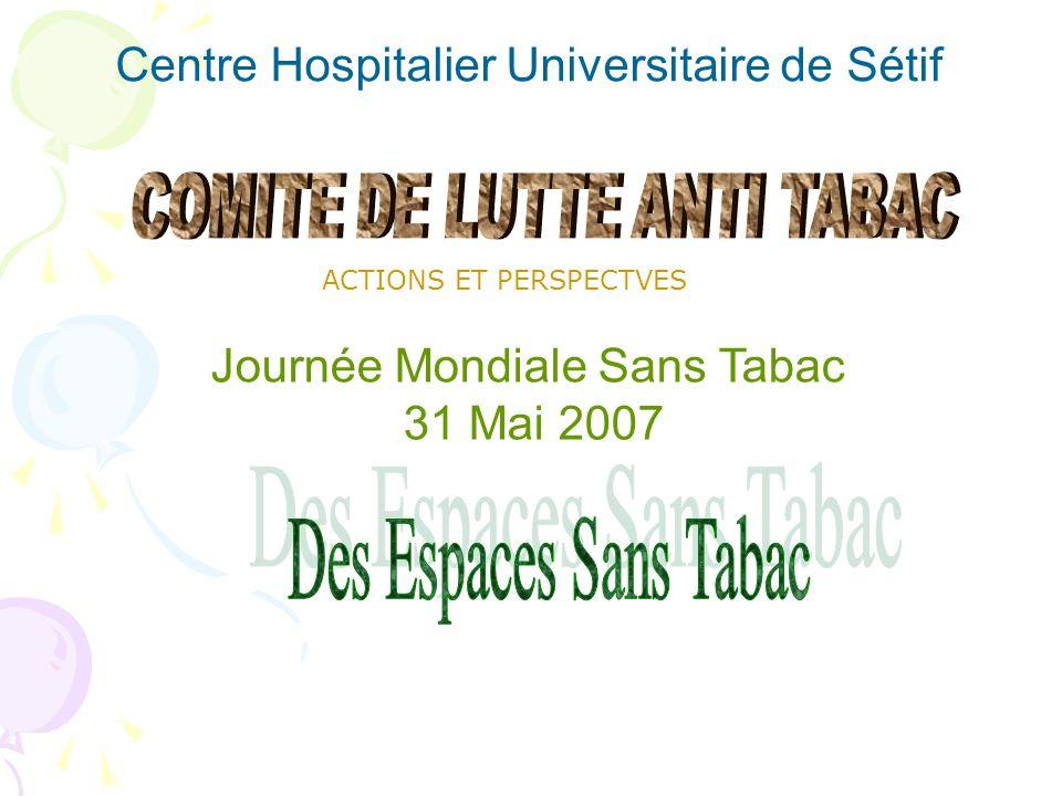 Journée Mondiale Sans Tabac 31 Mai 2007 Centre Hospitalier Universitaire de Sétif ACTIONS ET PERSPECTVES