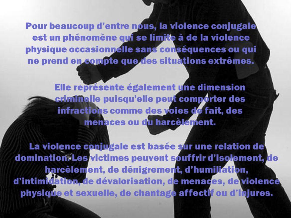 Pour beaucoup dentre nous, la violence conjugale est un phénomène qui se limite à de la violence physique occasionnelle sans conséquences ou qui ne pr