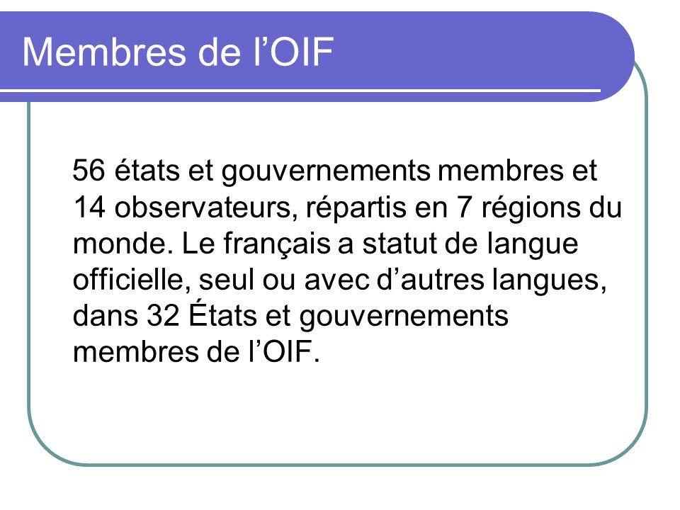 Membres de lOIF 56 états et gouvernements membres et 14 observateurs, répartis en 7 régions du monde. Le français a statut de langue officielle, seul