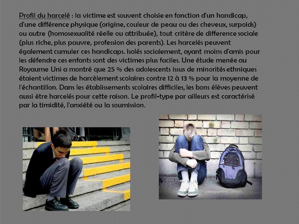 Profil du harcelé : la victime est souvent choisie en fonction d'un handicap, d'une différence physique (origine, couleur de peau ou des cheveux, surp