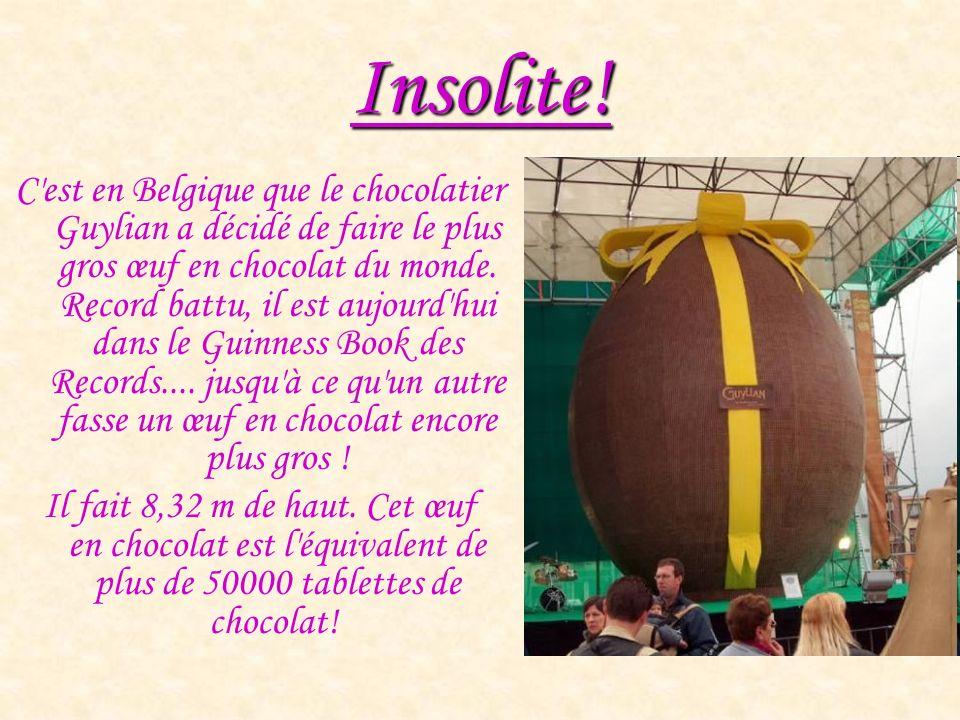 Insolite! C'est en Belgique que le chocolatier Guylian a décidé de faire le plus gros œuf en chocolat du monde. Record battu, il est aujourd'hui dans