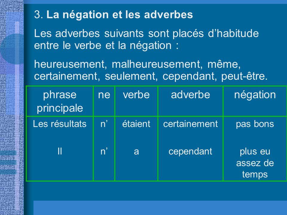 3. La négation et les adverbes Les adverbes suivants sont placés dhabitude entre le verbe et la négation : heureusement, malheureusement, même, certai