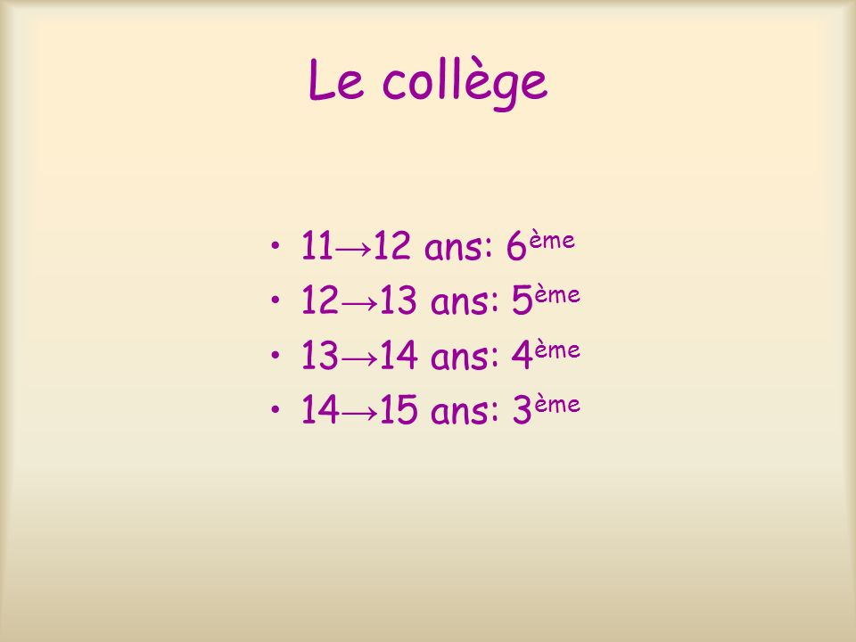 Le collège 11 12 ans: 6 ème 12 13 ans: 5 ème 13 14 ans: 4 ème 14 15 ans: 3 ème