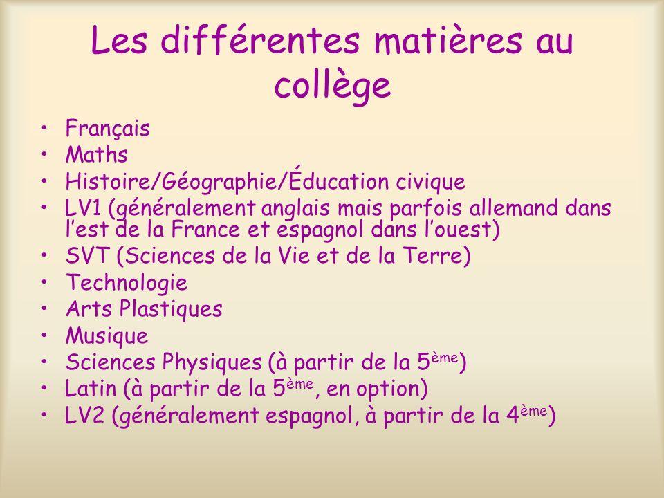 Les différentes matières au collège Français Maths Histoire/Géographie/Éducation civique LV1 (généralement anglais mais parfois allemand dans lest de