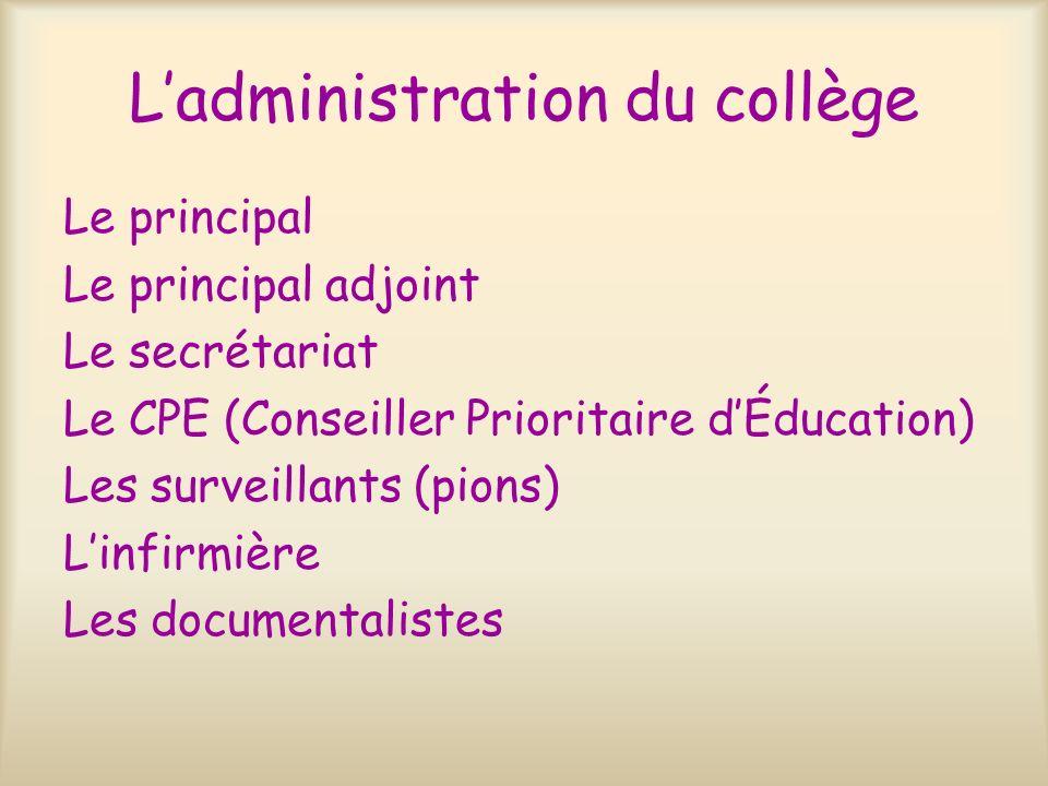 Ladministration du collège Le principal Le principal adjoint Le secrétariat Le CPE (Conseiller Prioritaire dÉducation) Les surveillants (pions) Linfir