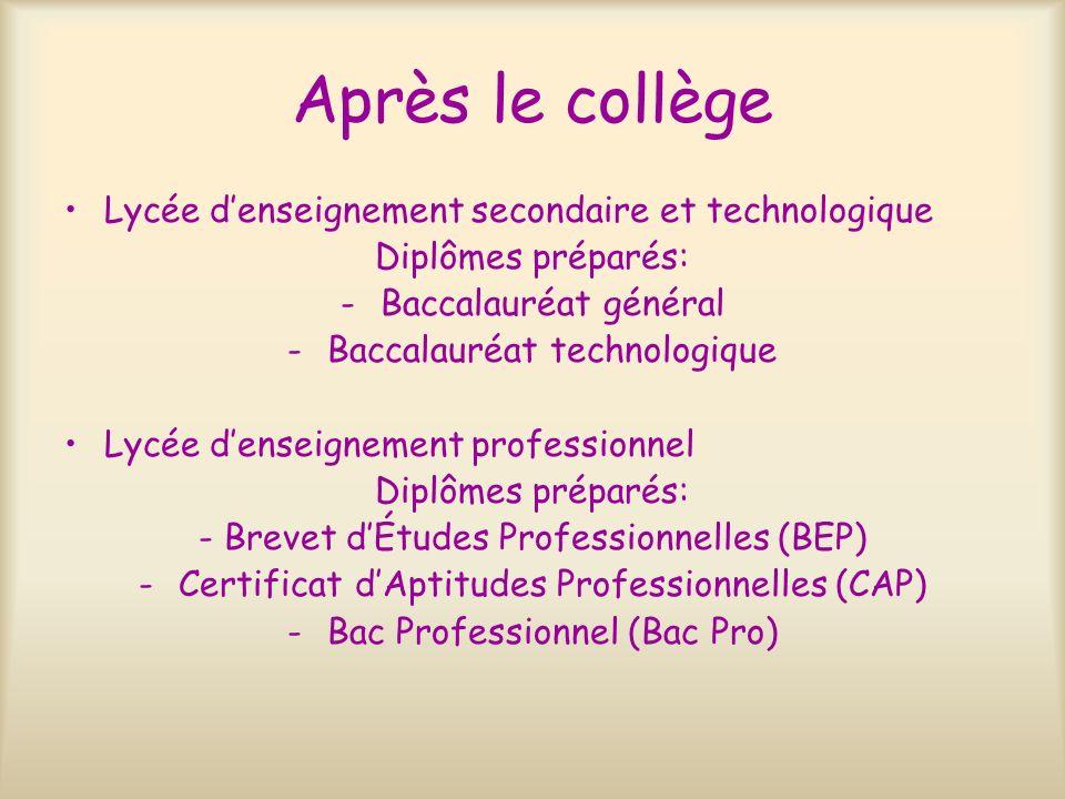 Après le collège Lycée denseignement secondaire et technologique Diplômes préparés: -Baccalauréat général -Baccalauréat technologique Lycée denseignem
