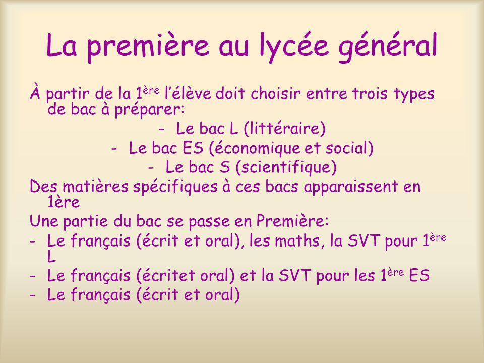 La première au lycée général À partir de la 1 ère lélève doit choisir entre trois types de bac à préparer: -Le bac L (littéraire) -Le bac ES (économiq