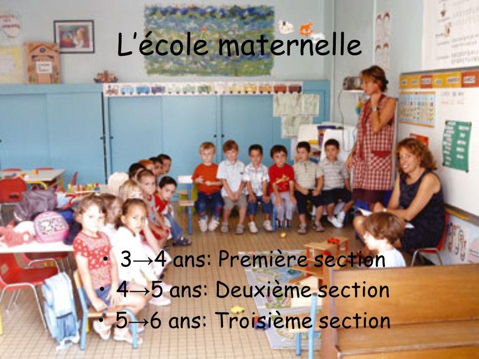 Lécole maternelle 3 4 ans: Première section 4 5 ans: Deuxième section 5 6 ans: Troisième section