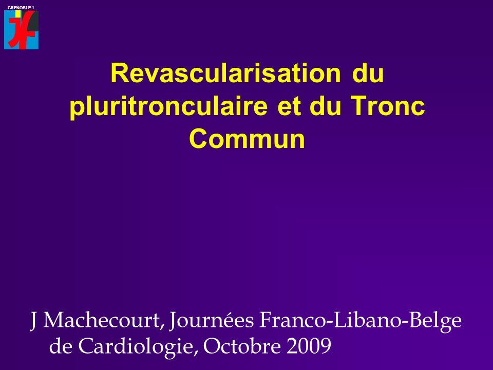GRENOBLE 1 Revascularisation du pluritronculaire et du Tronc Commun J Machecourt, Journées Franco-Libano-Belge de Cardiologie, Octobre 2009
