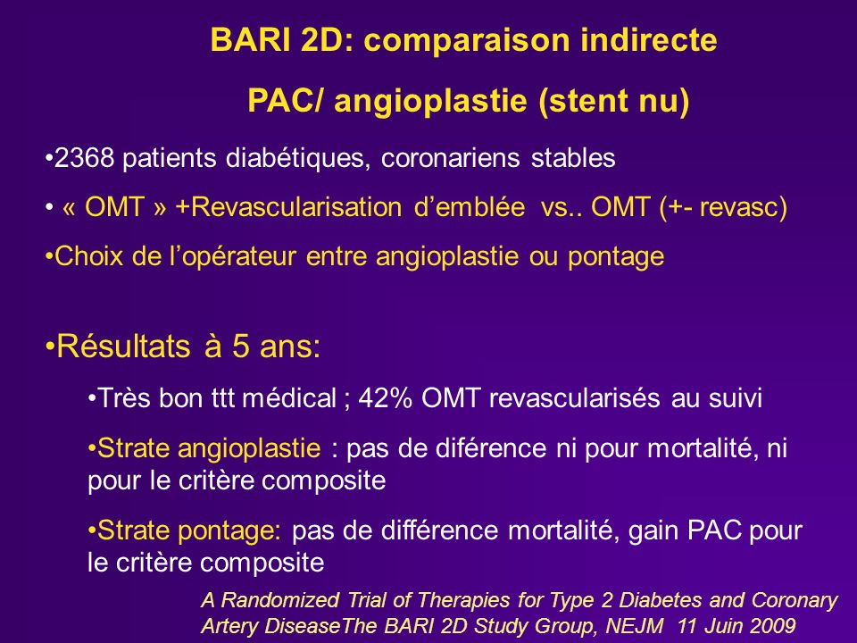 A Randomized Trial of Therapies for Type 2 Diabetes and Coronary Artery DiseaseThe BARI 2D Study Group, NEJM 11 Juin 2009 2368 patients diabétiques, coronariens stables « OMT » +Revascularisation demblée vs..