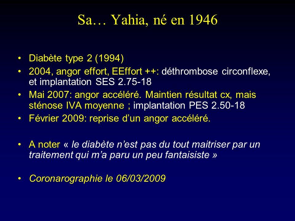 Sa… Yahia, né en 1946 Diabète type 2 (1994) 2004, angor effort, EEffort ++: déthrombose circonflexe, et implantation SES 2.75-18 Mai 2007: angor accél