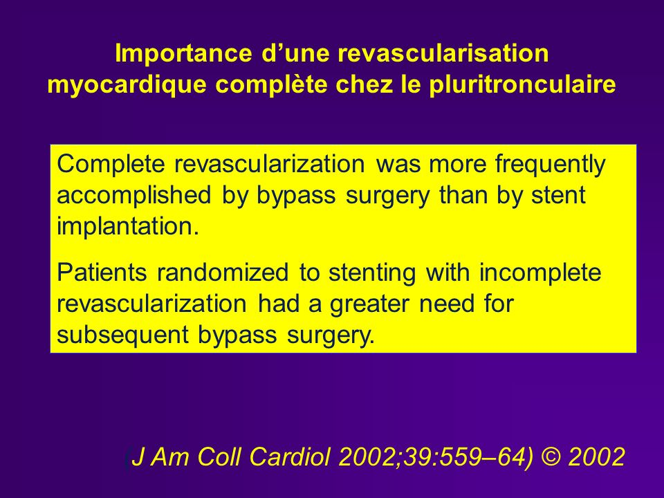 Complete revascularization was more frequently accomplished by bypass surgery than by stent implantation.