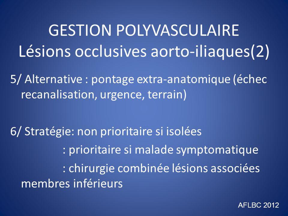 GESTION POLYVASCULAIRE Lésions occlusives aorto-iliaques(2) 5/ Alternative : pontage extra-anatomique (échec recanalisation, urgence, terrain) 6/ Stra