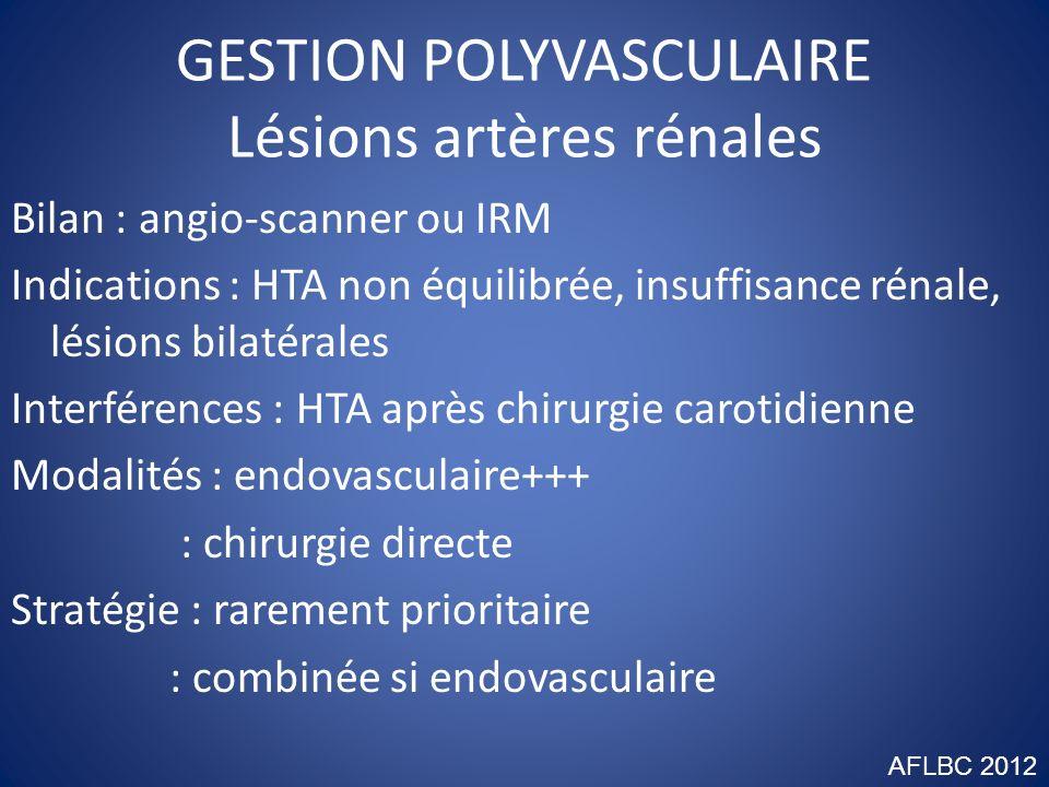 GESTION POLYVASCULAIRE Lésions artères digestives Bilan : angio-scanner (ou IRM), doppler effort Indications : angor digestif : asymptomatique tri-tronculaire Interférences : AMI vicariante : infarctus mésentère bas-débit Modalités : endovasculaire + électif, +++ urgence : pontage Stratégie : prioritaire si symptomatique AFLBC 2012