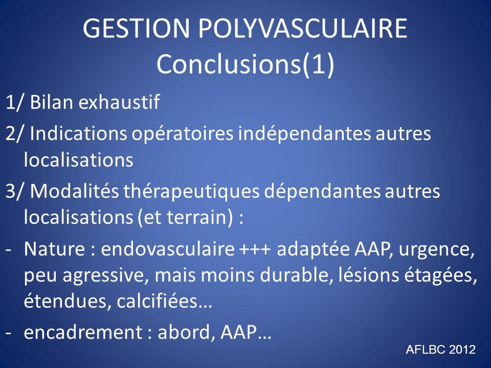 GESTION POLYVASCULAIRE Conclusions(2) 4/ Stratégie : -Priorité aux lésions symptomatiques -Priorité aux lésions susceptibles de se décompenser -Ne pas négliger lésions membres inférieurs+++ - Chirurgie séquentielle ou hybride plutôt que combinée.