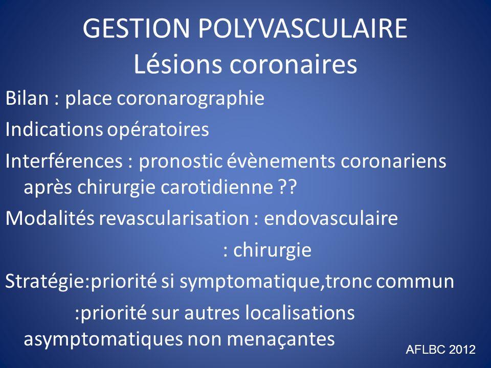 GESTION POLYVASCULAIRE Lésions aortiques anévrysmales(1) 1/ Bilan par angio-scanner 2/ Indication : diamètre > 50 mm : compliqué ou symptomatique 3/ Interférence : poussée évolutive après chirurgie autre : embolie lors cathétherisme 4/ Modalités : endoprothèse si conditions morphologiques favorables (70%) : chirurgie directe AFLBC 2012