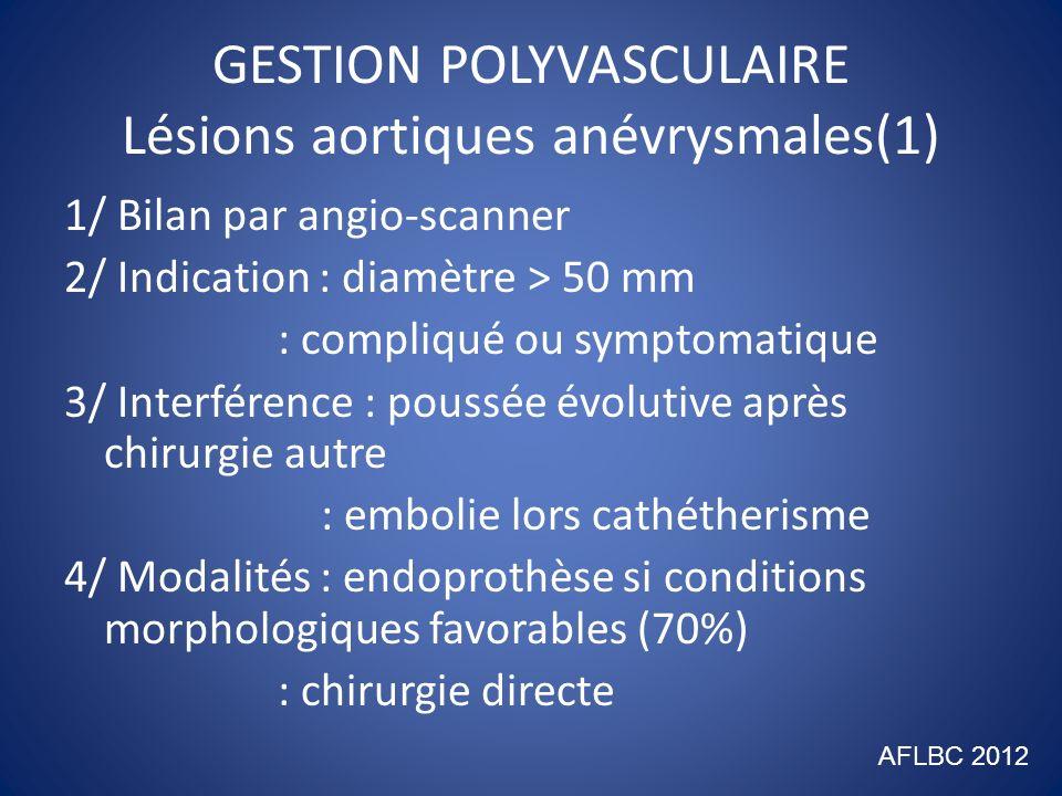 GESTION POLYVASCULAIRE Lésions aortiques anévrysmales(2) 5/ Stratégie : urgence prioritaire si douloureux : après préparation sinon, médicale et chirurgicale (embolectomie, carotide) : chirurgie combinée alourdit morbi- mortalité AFLBC 2012