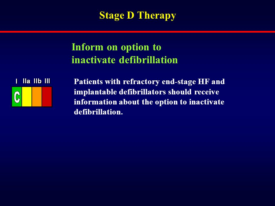 Stage D Therapy Patients with refractory end-stage HF and implantable defibrillators should receive information about the option to inactivate defibri
