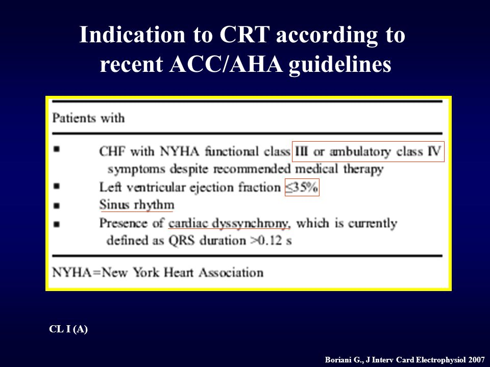 Indication to CRT according to recent ACC/AHA guidelines CL I (A) Boriani G., J Interv Card Electrophysiol 2007