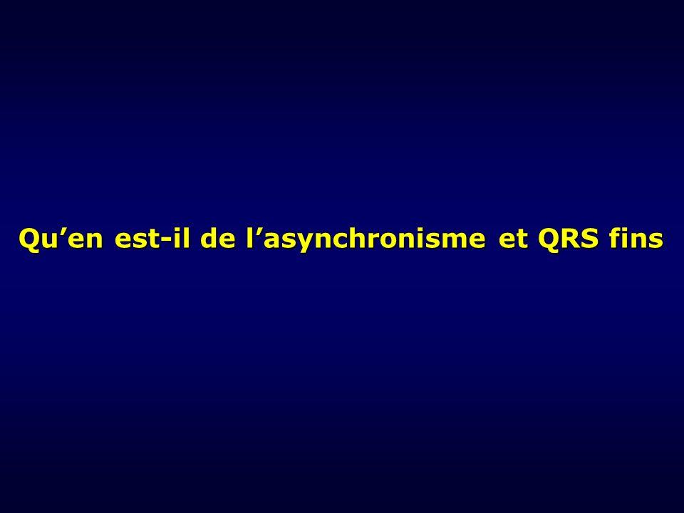 Quen est-il de lasynchronisme et QRS fins