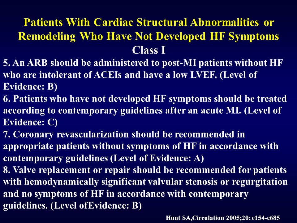 Patients With Cardiac Structural Abnormalities or Remodeling Who Have Not Developed HF Symptoms Class I 5.