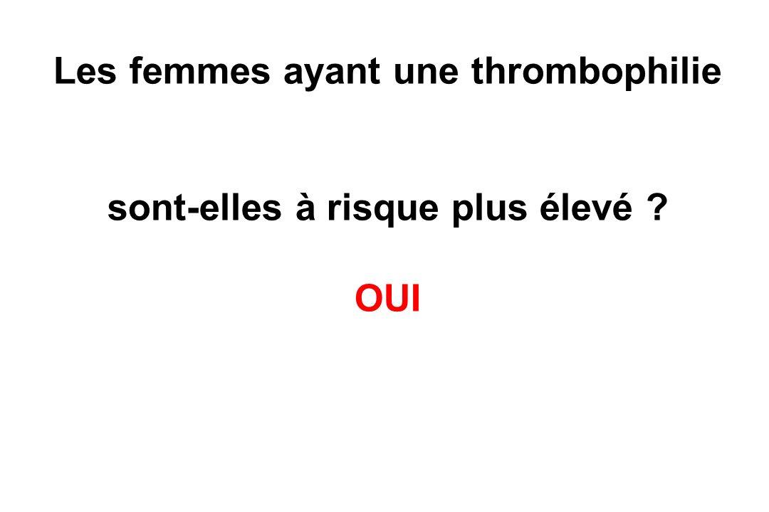Les femmes ayant une thrombophilie sont-elles à risque plus élevé ? OUI