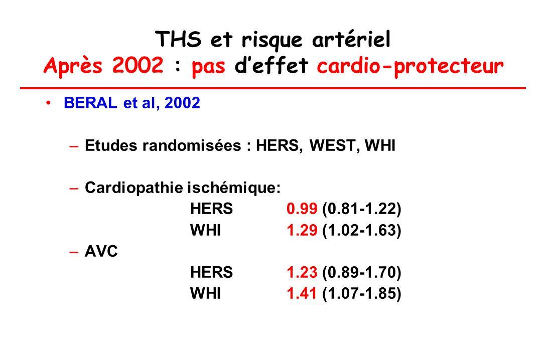 THS et risque artériel Après 2002 : pas deffet cardio-protecteur BERAL et al, 2002 –Etudes randomisées : HERS, WEST, WHI –Cardiopathie ischémique: HER