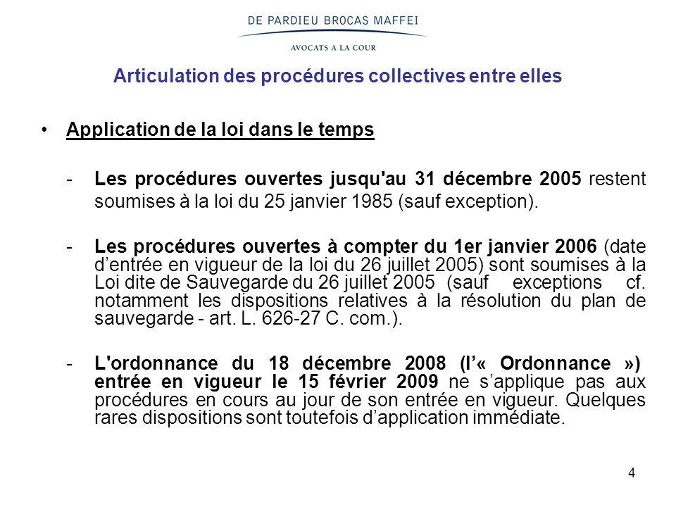 4 Articulation des procédures collectives entre elles Application de la loi dans le temps -Les procédures ouvertes jusqu au 31 décembre 2005 restent soumises à la loi du 25 janvier 1985 (sauf exception).